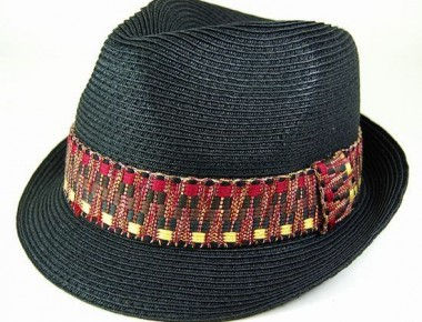 7877-2 Straw Fedora with Woven Band