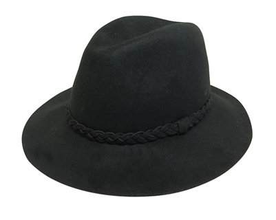 Black Wool Felt Panama Hat with Braid Band Wholesale Festival Hats-Dynamic Asia