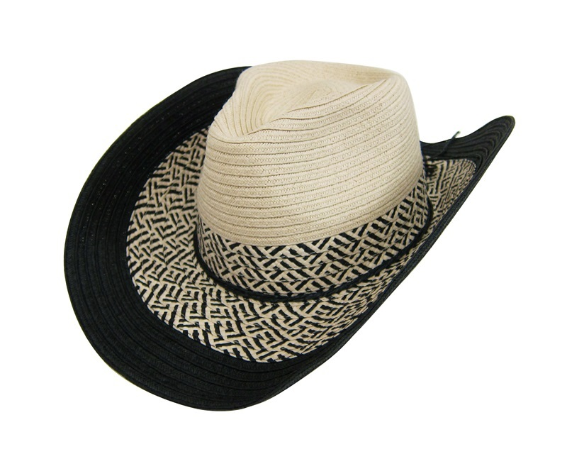 Straw Cowboy Hat Black Black And Natural Straw Cowboy