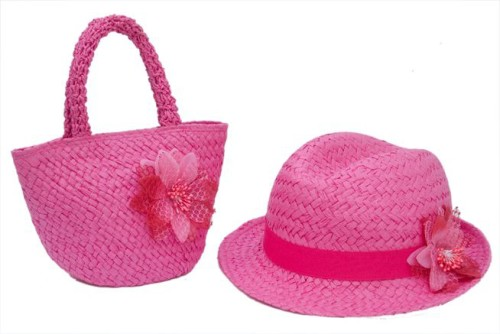 ed7a3095423 Child s Straw Fedora Purse Set Wholesale Kids Accessories-Dynamic Asia