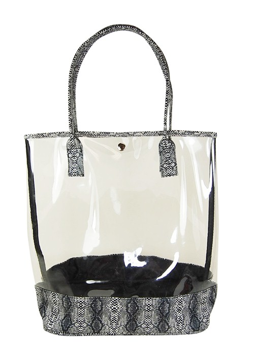 Clear PVC Tote with Faux Snakeskin Handles and Trim Fashion Accessories Wholesale Dynamic Asia