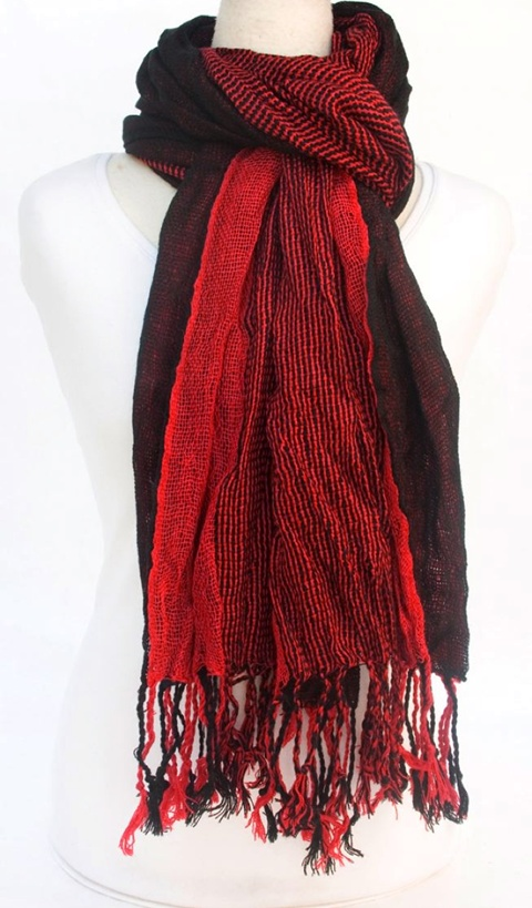 Crinkled Loose Weave Winter Scarf Shawl-Dynamic Asia