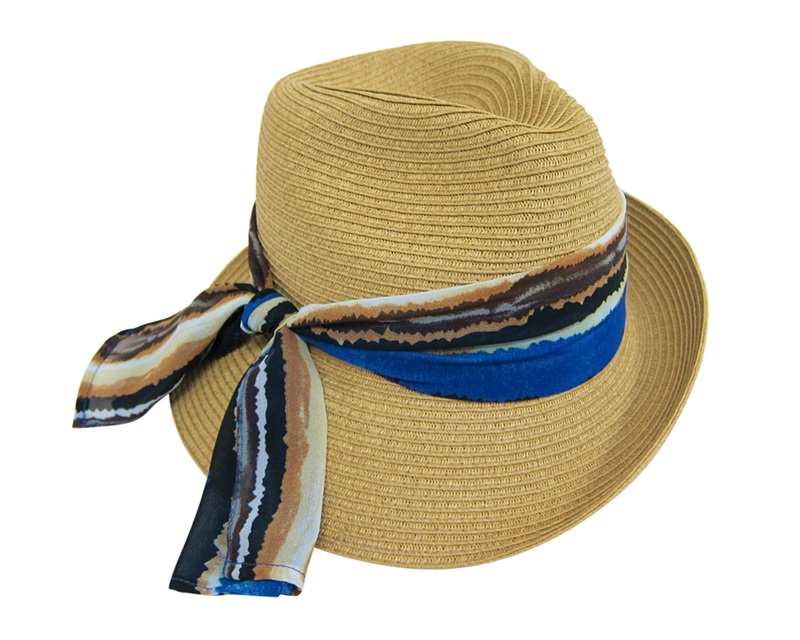 Dynamic Asia Wholesale Asymmetrical Summer 2014 Straw Fedora with Colorful Sash