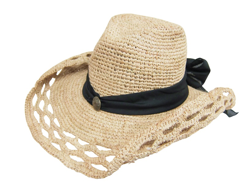 Dynamic Asia Wholesale Summer Straw Hat Supplier Crochet Raffia Cowboy Hat with Colored Sash