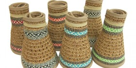 Dynamic Asia-rolled-up-straw-sun-visors-wholesale-hats-tribal print neutral straw compact easy travel