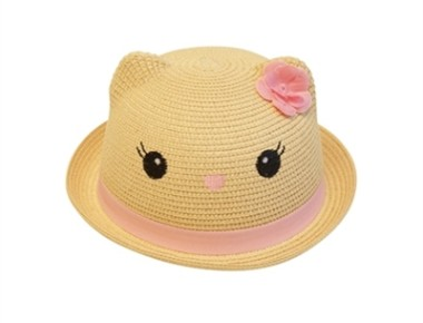 Girls straw kitty hat summer wholesale