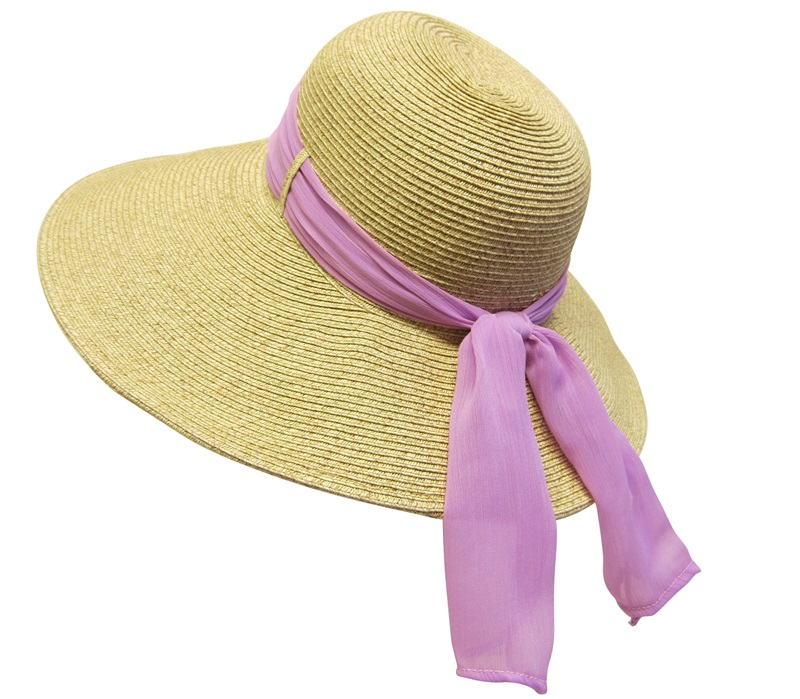 Large Asymmetrical Summer Sun Hat with Radiant Orchid Lilac Sash Sun Hats Wholesale- Dynamic Asia