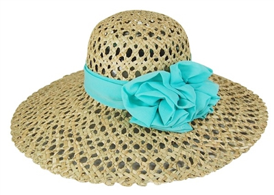Open Weave Straw Hat with Rose Sash Wholesale womens