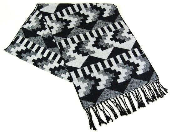 Patterned Silk Knitted Scarf w: Fringe- Boardwalk Style