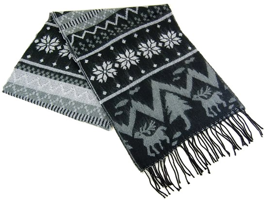 Soft Knitted Winter Motif Scarf w:Reversable Pattern-Dynamic Asia