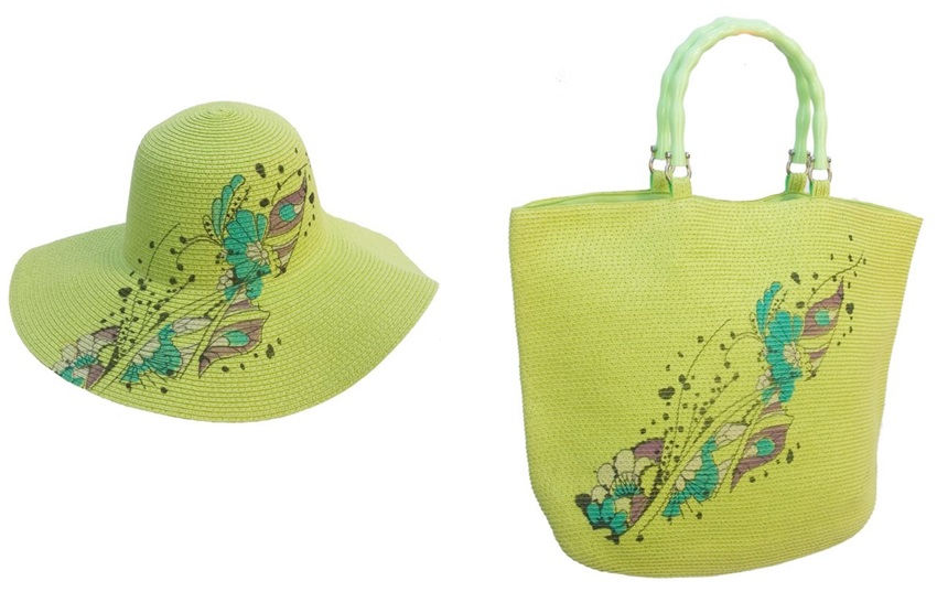 Straw Wholesale Floppy Hat and Matching Purse Combination-Dynamic Asia