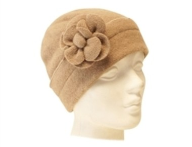wholesale tan beanie with flower