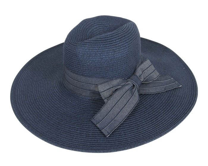 Western Style Wide Brim Hat with Denim Bow Summer 2015 Hats-Dynamic Asia