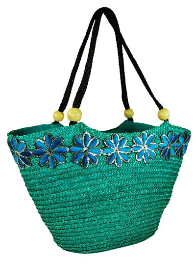 Wheat Straw Handbag w/ Sequin Flowers Braided Handles Wood Beads Beach Bag Wholesale Distributor Resort Accessories- Dynamic Asia