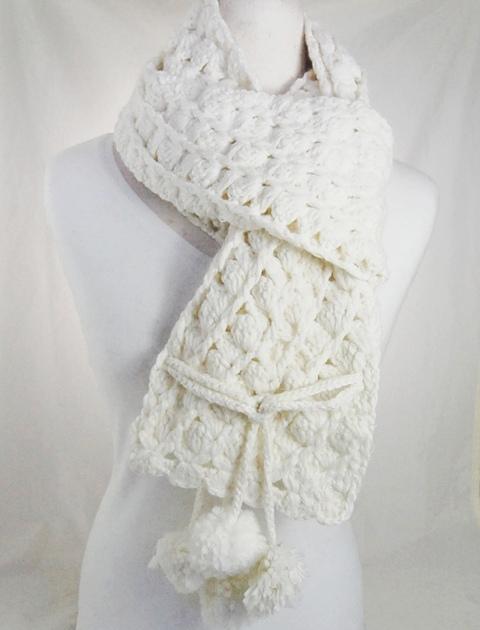 White Crochet Scarf w:Dangling Poms-Dynamic Asia
