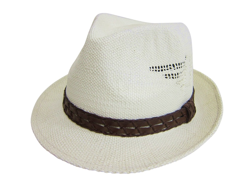 Wholeale Woven Straw Fedora With Cut Outs-Dynamic Asia