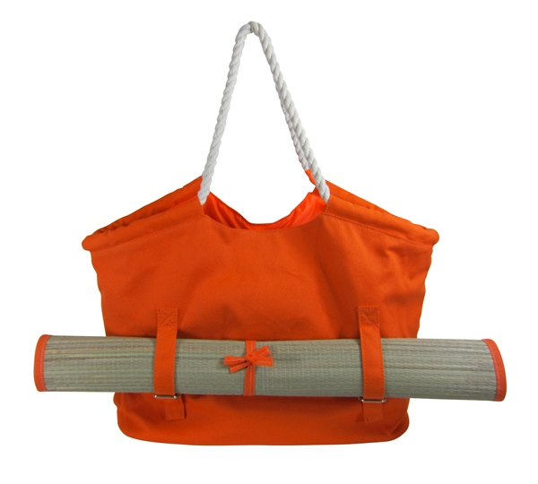 Wholesale Beach Bags and Tote Bags Orange Beach Tote with Mat- Dynamic Asia