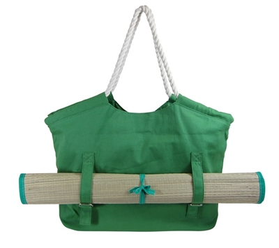 wholesale canvas beach bags - tote with straw mat