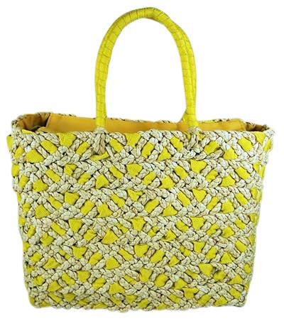 Wholesale Straw Beach Bags Yellow and Natural Straw- Dynamic Asia