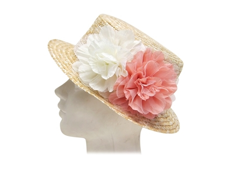 Wholesale Straw Boater Hat with Flowers
