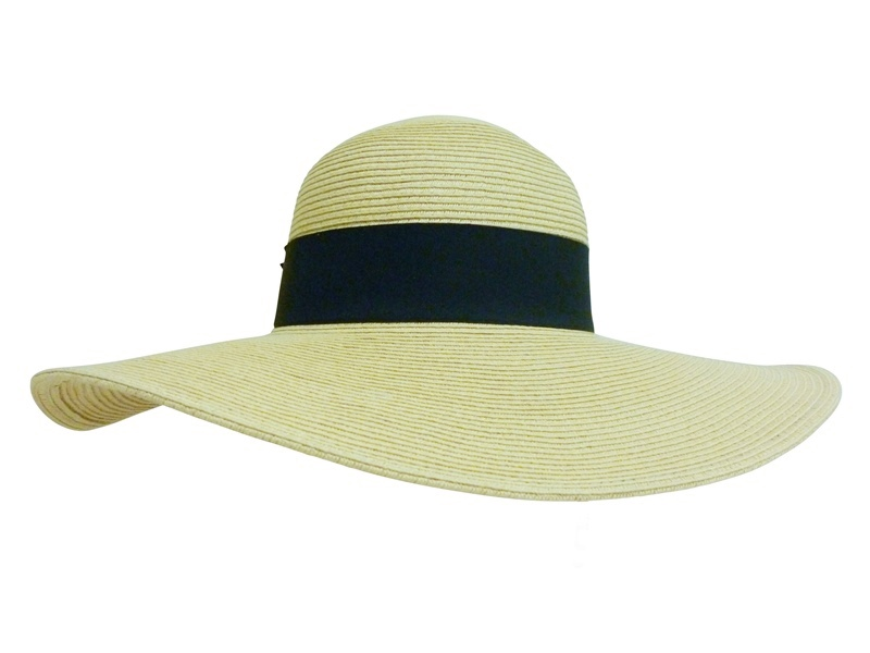 Wide Brim Straw Braid Hat w: Band with Grossgrain Band Wholesale Resort Hats-Dynamic Asia