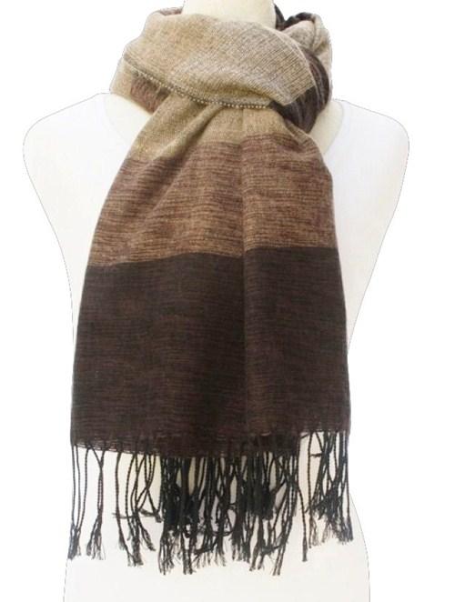 Wide Striped Wool Blend Winter Scarf-Dynamic Asia