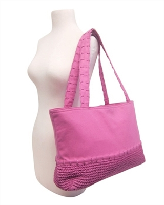 pink canvas and straw beach bag