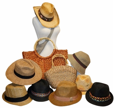 whole straw hats and straw bags
