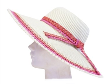 brim hat with lacy straw trim