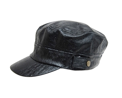 black-faux-leather-caps-wholesale