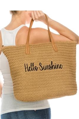 c30d80b0eb2150 bulk beach bags 2019 straw embroidery hello sunshine wholesale straw bags