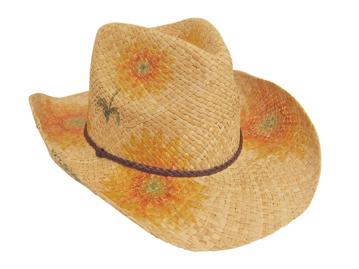 ff287a55ead high quality cowboy hats wholesale raffia cowboy Hat with painted  sunflowers- Dynamic Asia