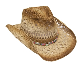 multicolored cowboy hat with beads
