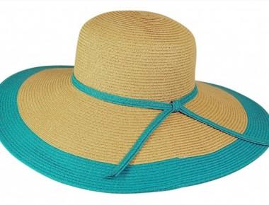turquoise straw hat - wide brim