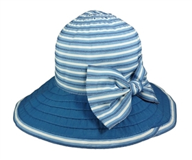 wholesale blue white striped ribbon lampshade hat