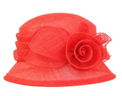 wholesale church hats red sinamay bucket hat flower