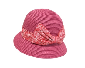 wholesale girls fuchsia bucket hat with printed bow