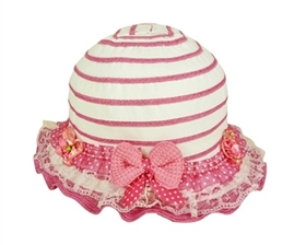 wholesale girls ruffled sun hat with ribbon lace