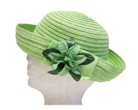 wholesale green sun hat with flower bow