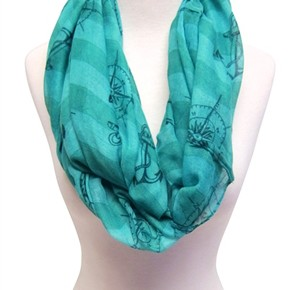wholesale infinity scarves teal aqua nautical