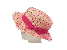 wholesale kids straw boater hat with tulle