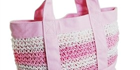 wholesale pink straw and canvas bag