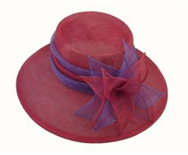 wholesale red hats purple church sinamay wide brim