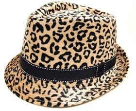 wholesale sleek leopard print fur fedora