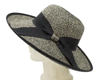 wholesale-straw-hats-wide-brim-heathered-braid-bow