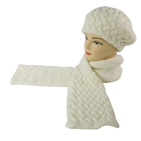wholesale scarf hat set beanies scarves white