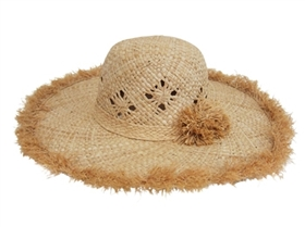 wholesale woven straw sun hat with fringe